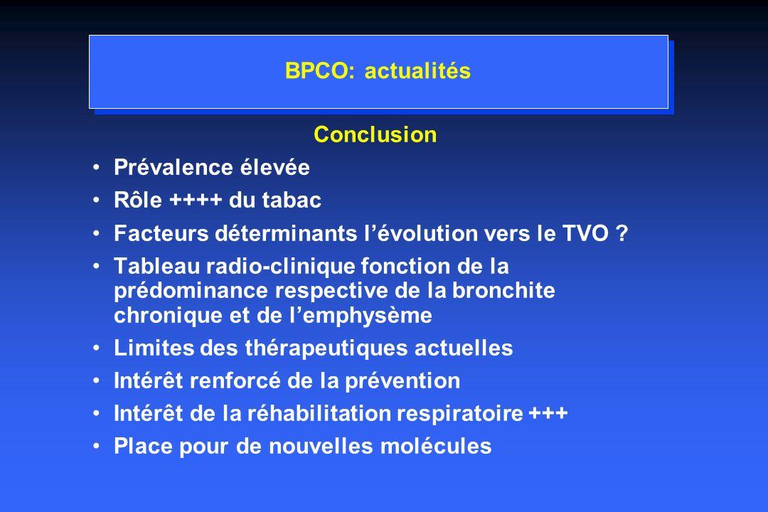 BPCO: actualités Conclusion. Prévalence élevée. Rôle ++++ du tabac. Facteurs déterminants l'évolution vers le TVO