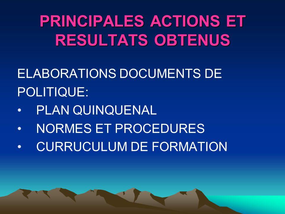 PRINCIPALES ACTIONS ET RESULTATS OBTENUS