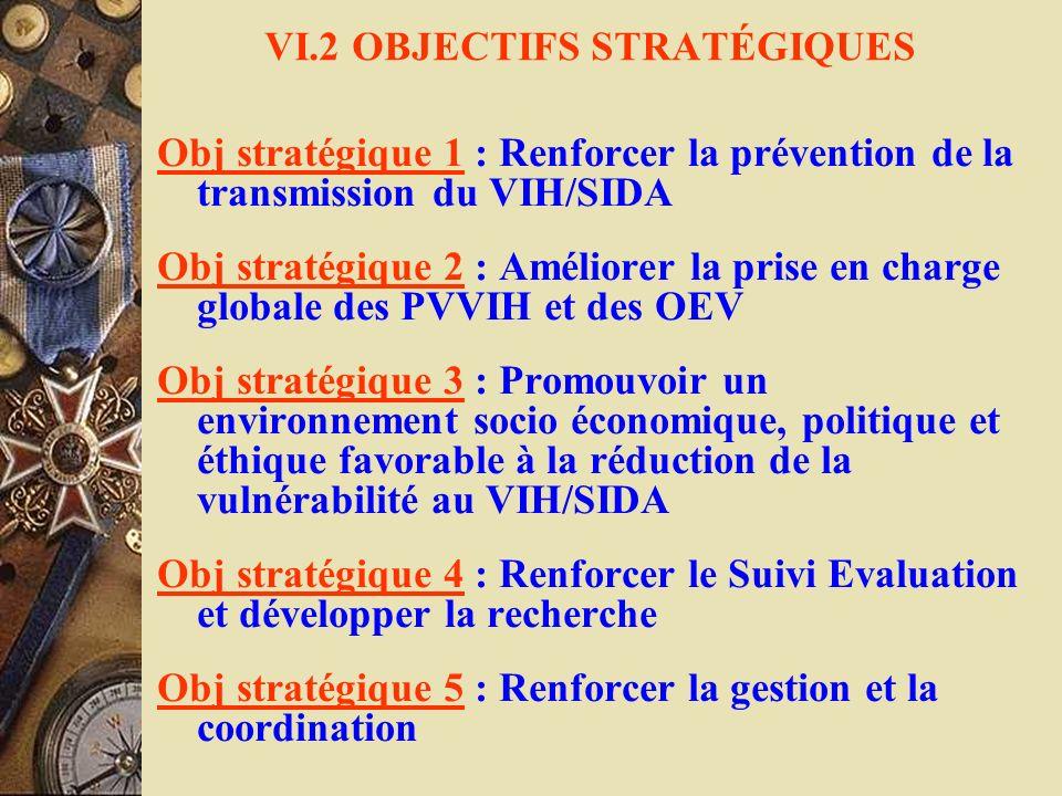VI.2 OBJECTIFS STRATÉGIQUES