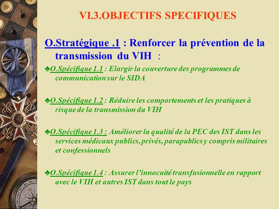 VI.3.OBJECTIFS SPECIFIQUES