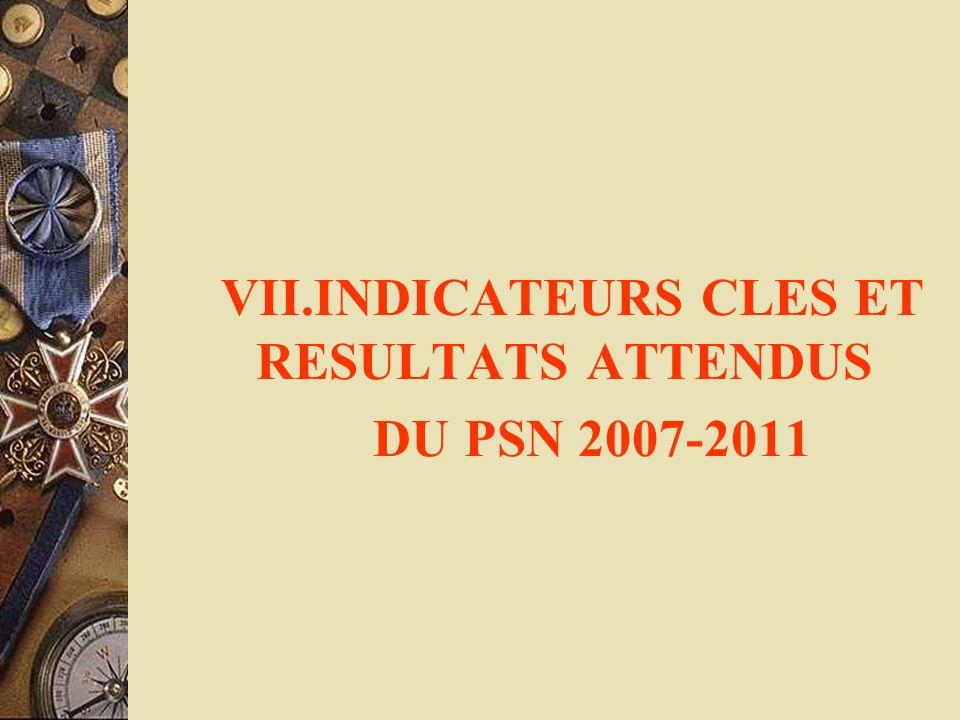 VII.INDICATEURS CLES ET RESULTATS ATTENDUS