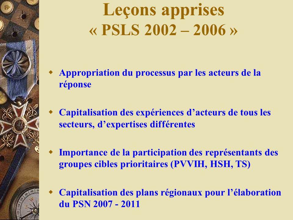 Leçons apprises « PSLS 2002 – 2006 »