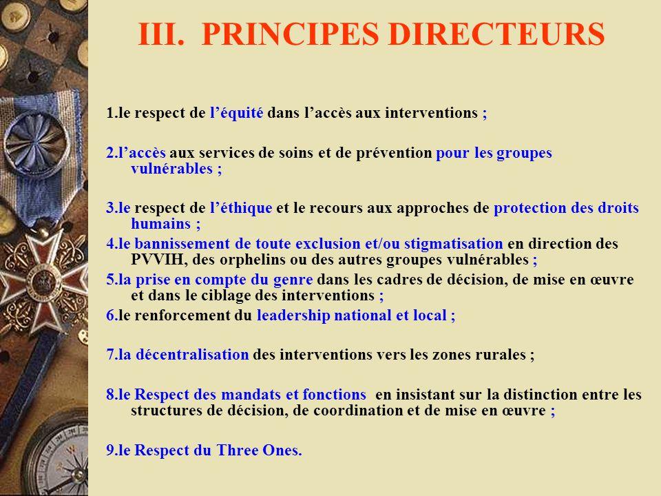 III. PRINCIPES DIRECTEURS