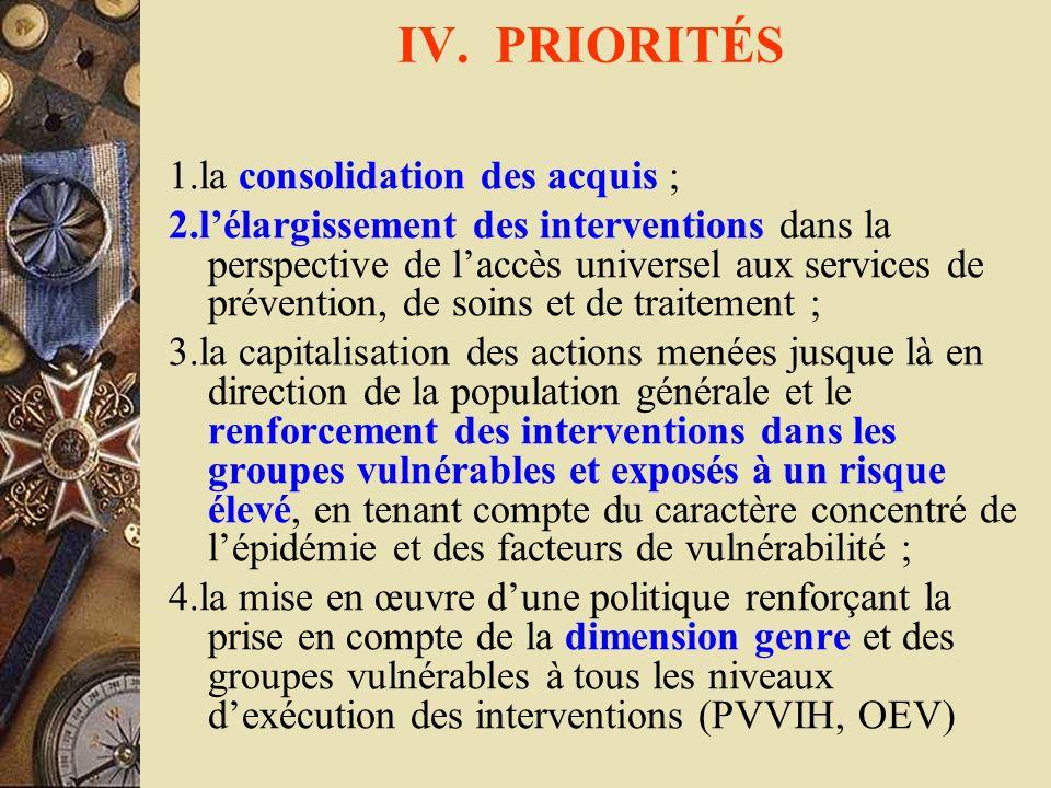 IV. PRIORITÉS 1.la consolidation des acquis ;