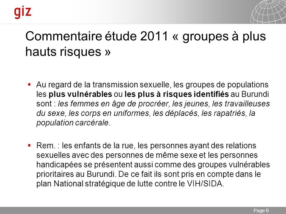 Commentaire étude 2011 « groupes à plus hauts risques »