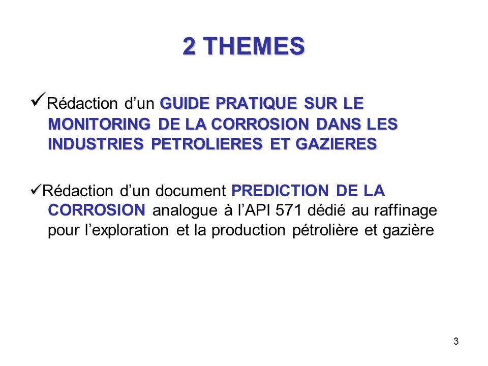 2 THEMES Rédaction d'un GUIDE PRATIQUE SUR LE MONITORING DE LA CORROSION DANS LES INDUSTRIES PETROLIERES ET GAZIERES.