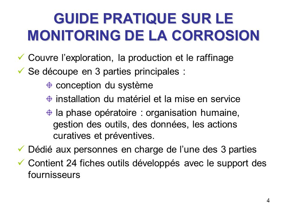 GUIDE PRATIQUE SUR LE MONITORING DE LA CORROSION