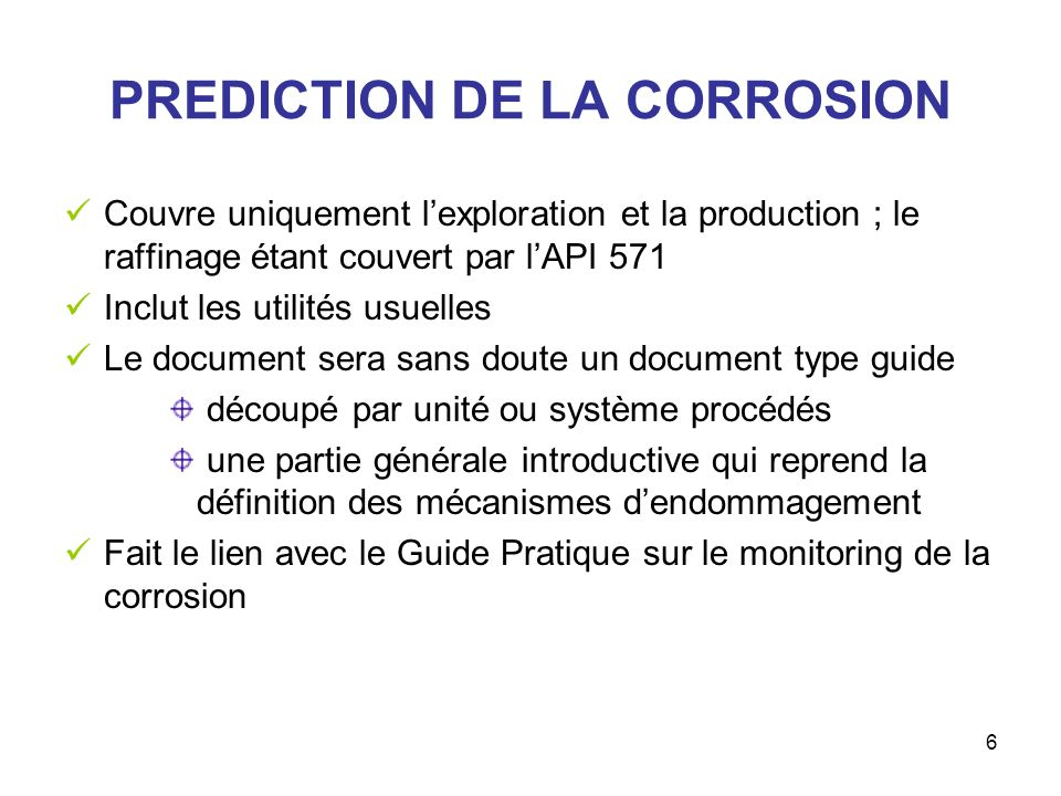 PREDICTION DE LA CORROSION