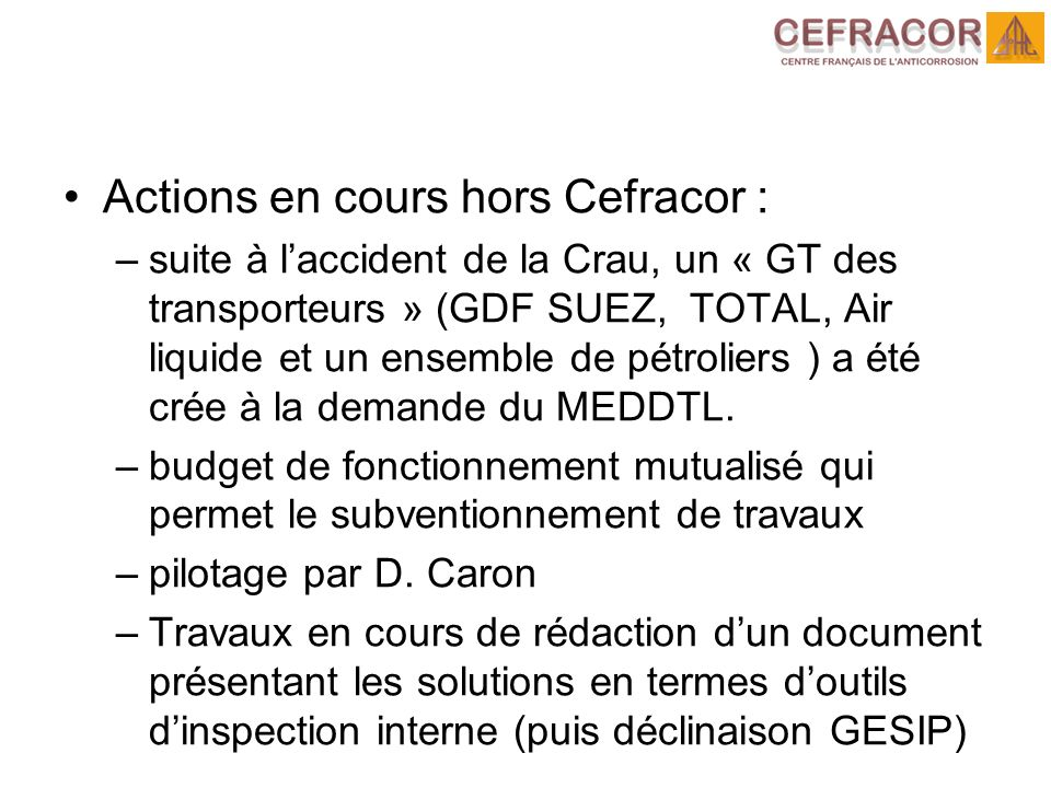Actions en cours hors Cefracor :