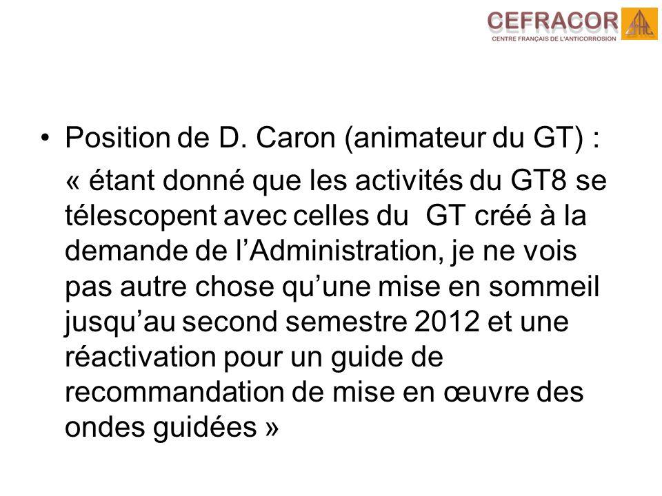 Position de D. Caron (animateur du GT) :