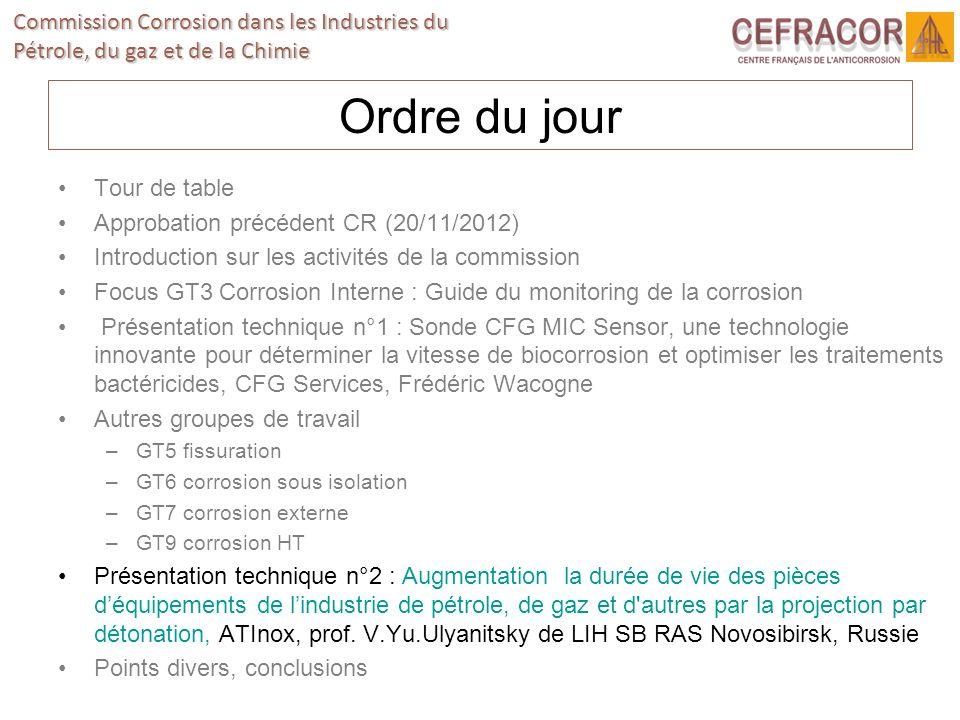 Ordre du jour Tour de table Approbation précédent CR (20/11/2012)