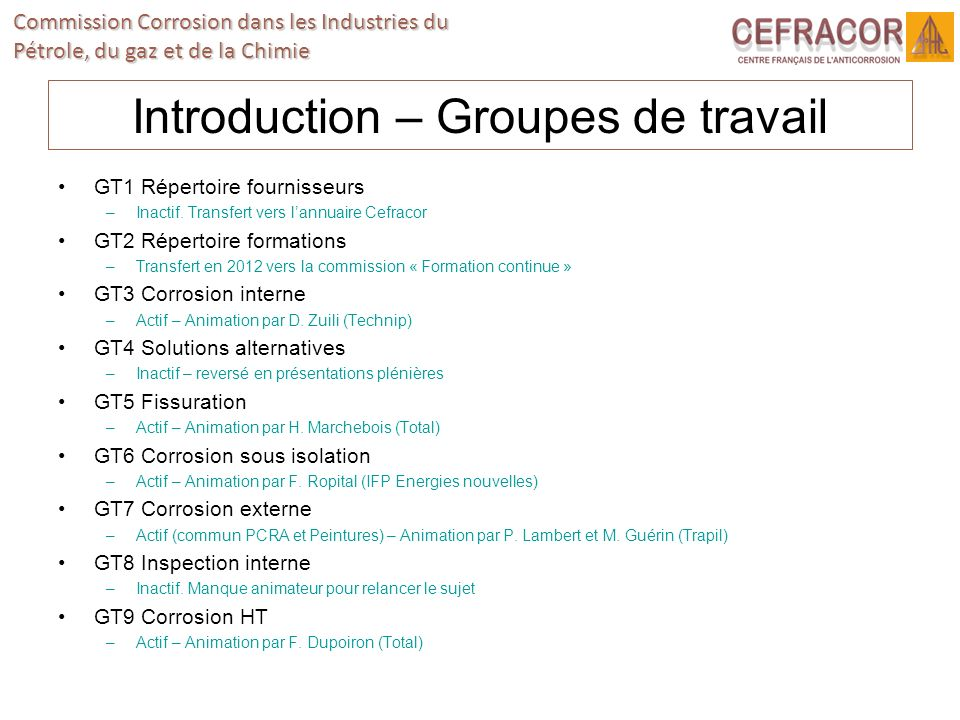 Introduction – Groupes de travail
