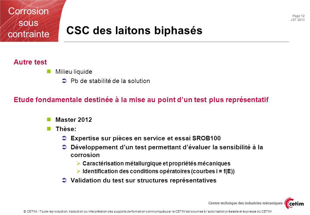 CSC des laitons biphasés
