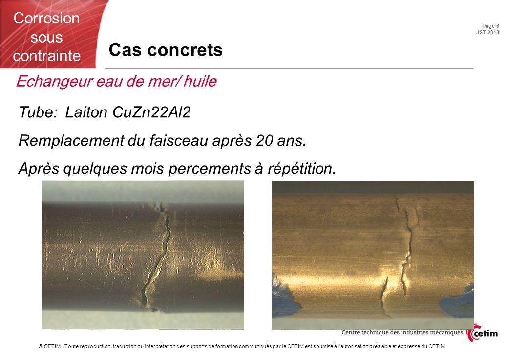 Cas concrets Echangeur eau de mer/ huile Tube: Laiton CuZn22Al2