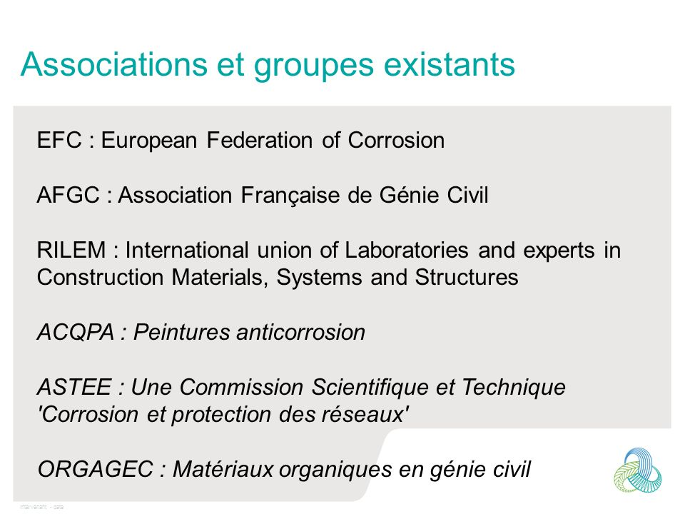 Associations et groupes existants
