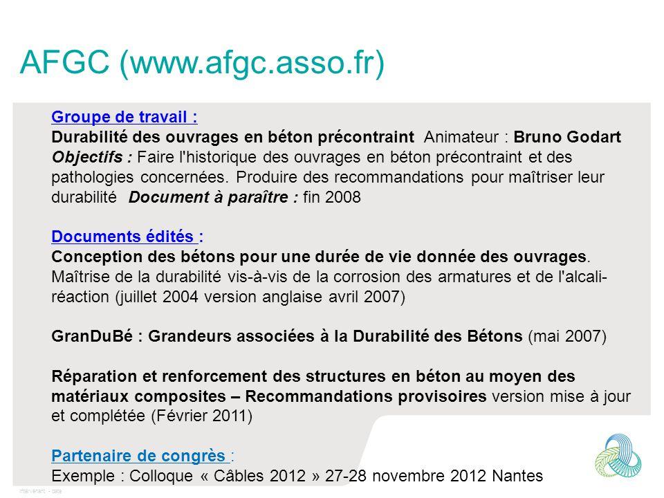 AFGC (www.afgc.asso.fr) Groupe de travail :
