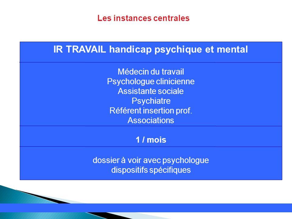 Les instances centrales IR TRAVAIL handicap psychique et mental