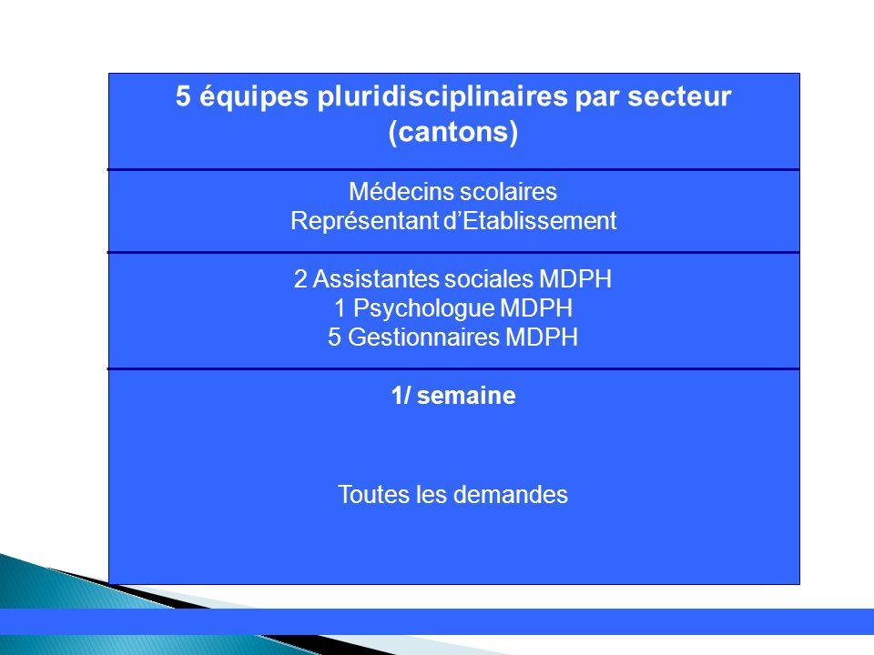 5 équipes pluridisciplinaires par secteur (cantons)