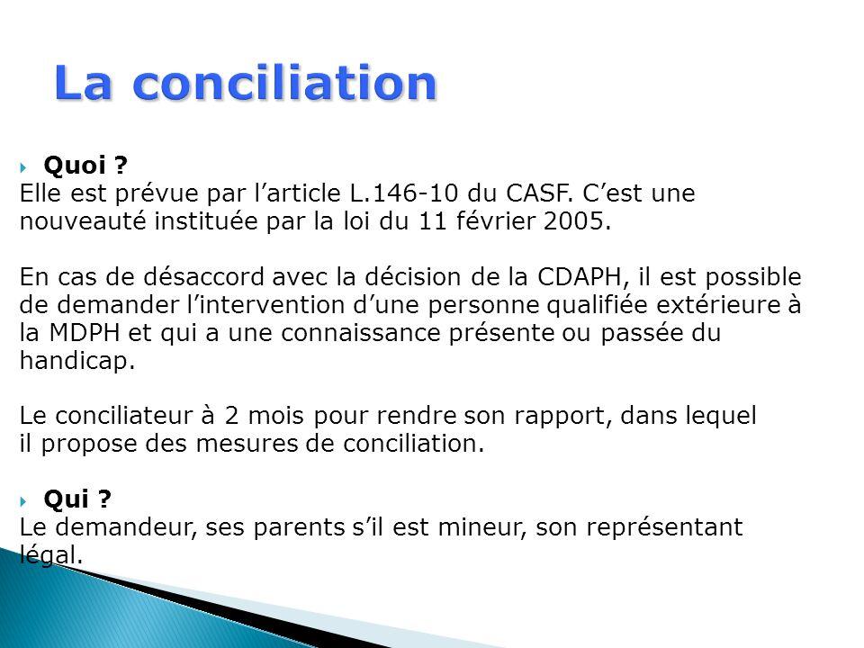 La conciliation Quoi Elle est prévue par l'article L.146-10 du CASF. C'est une. nouveauté instituée par la loi du 11 février 2005.
