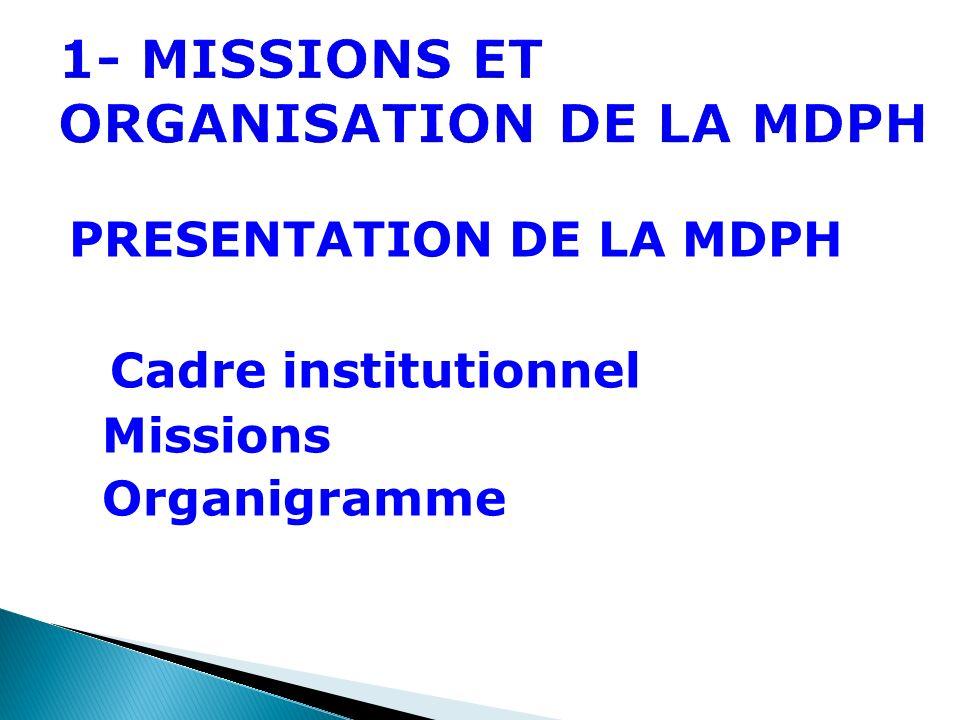 1- MISSIONS ET ORGANISATION DE LA MDPH