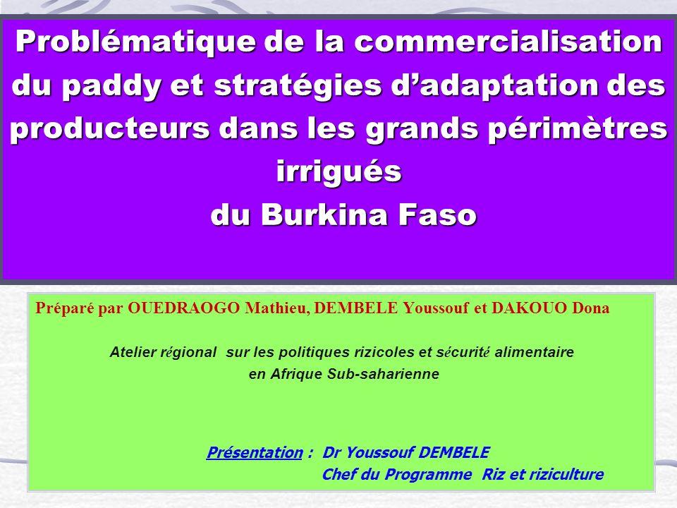 Problématique de la commercialisation du paddy et stratégies d'adaptation des producteurs dans les grands périmètres irrigués du Burkina Faso