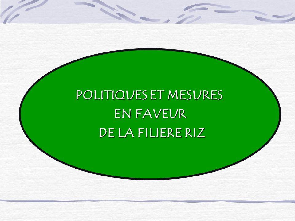 POLITIQUES ET MESURES EN FAVEUR DE LA FILIERE RIZ