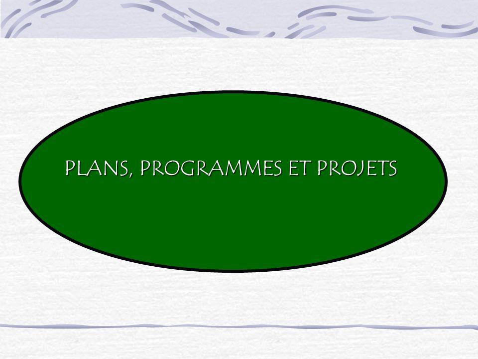 PLANS, PROGRAMMES ET PROJETS