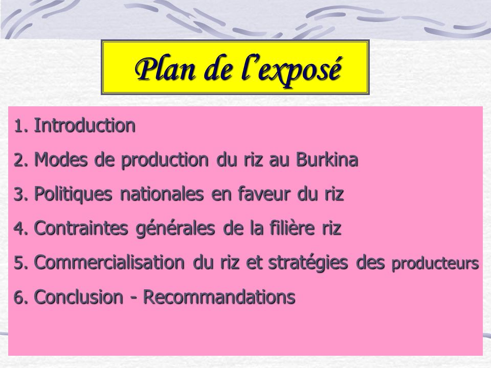 Plan de l'exposé Introduction Modes de production du riz au Burkina