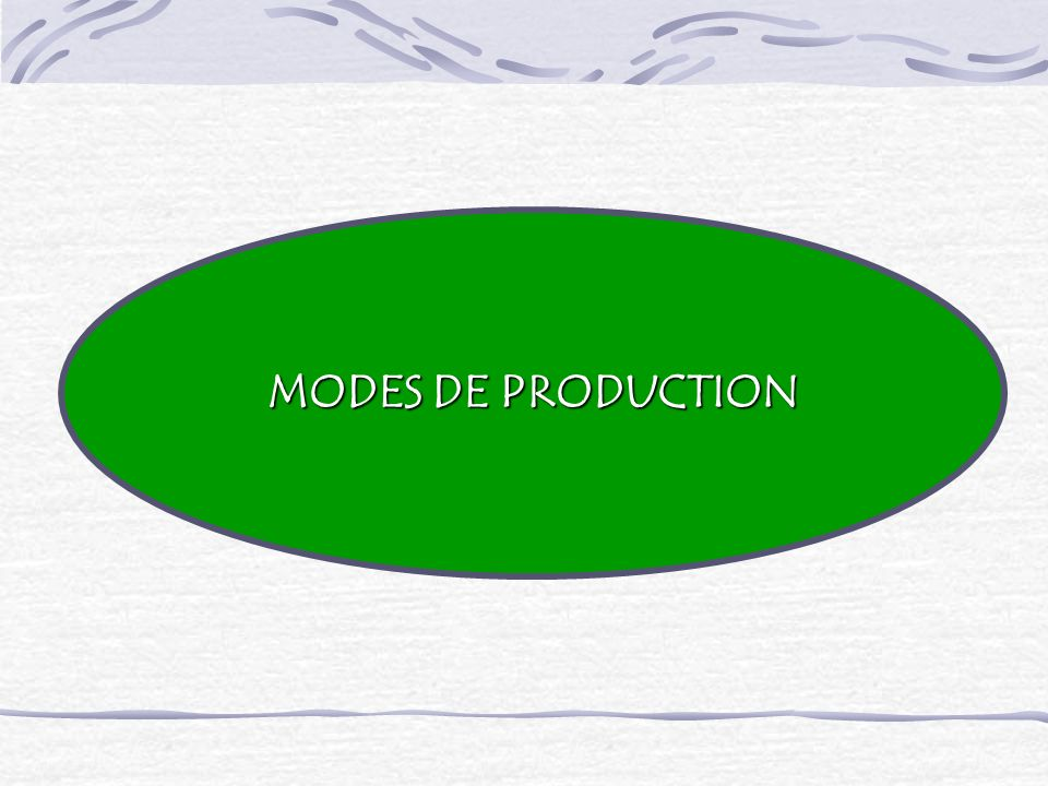 MODES DE PRODUCTION