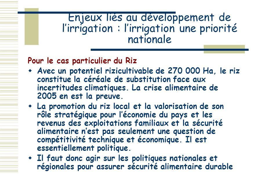 Enjeux liés au développement de l'irrigation : l'irrigation une priorité nationale