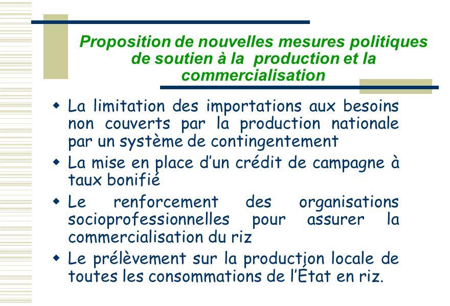 Proposition de nouvelles mesures politiques de soutien à la production et la commercialisation