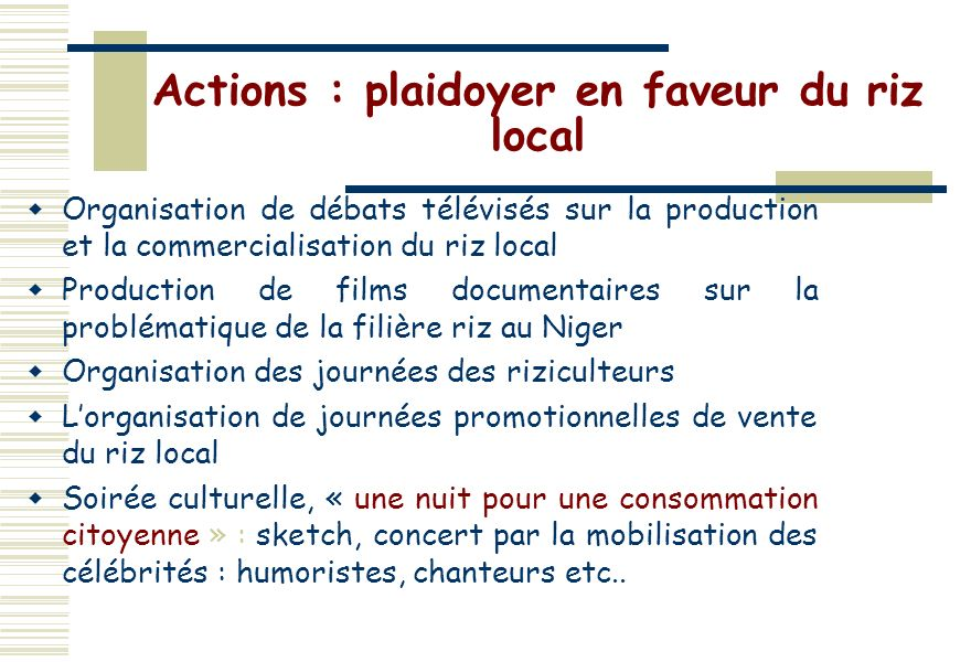 Actions : plaidoyer en faveur du riz local