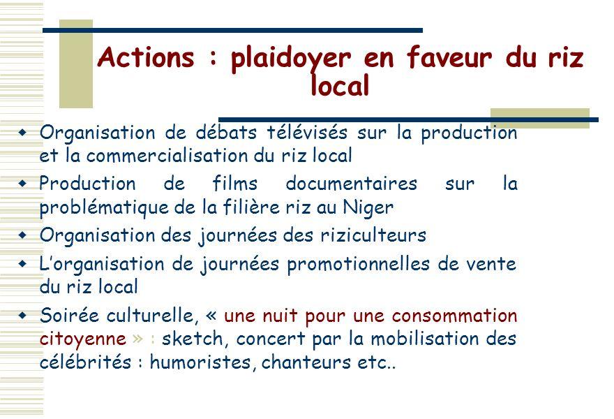 Actions : plaidoyer en faveur du riz local