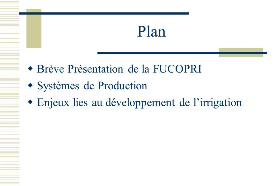 Plan Brève Présentation de la FUCOPRI Systèmes de Production