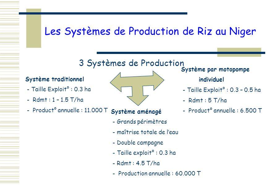 Les Systèmes de Production de Riz au Niger