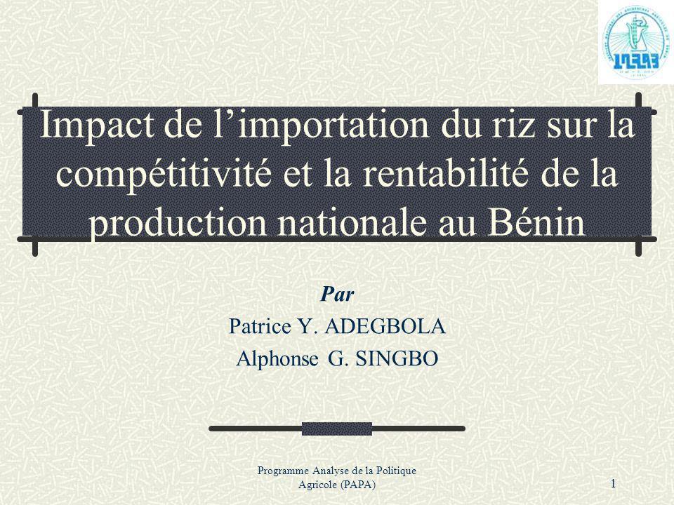 Par Patrice Y. ADEGBOLA Alphonse G. SINGBO