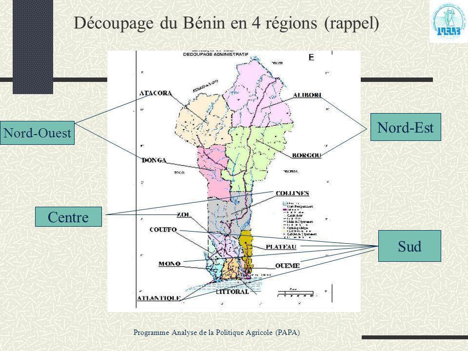 Découpage du Bénin en 4 régions (rappel)