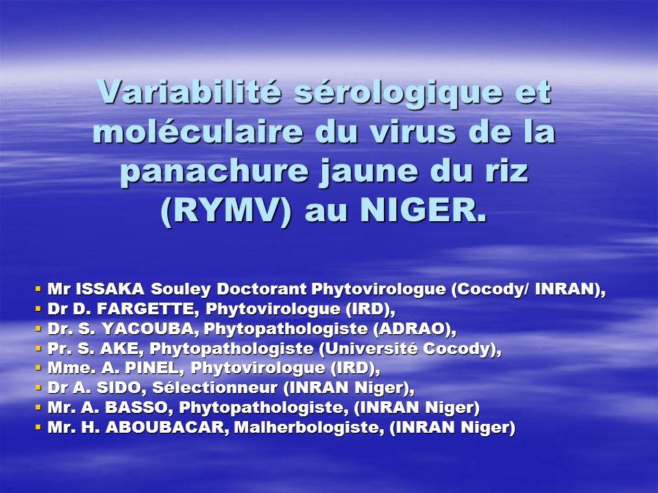 Variabilité sérologique et moléculaire du virus de la panachure jaune du riz (RYMV) au NIGER.