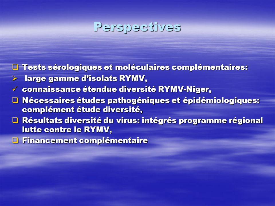 Perspectives Tests sérologiques et moléculaires complémentaires: