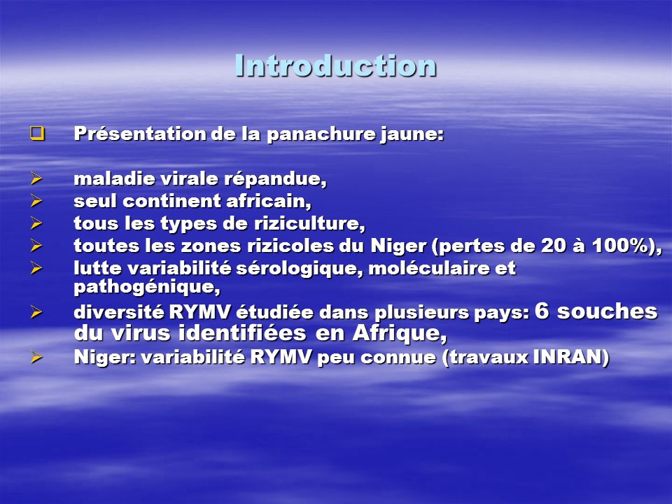 Introduction Présentation de la panachure jaune: