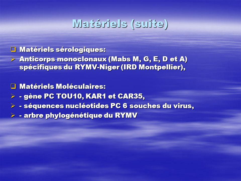 Matériels (suite) Matériels sérologiques: