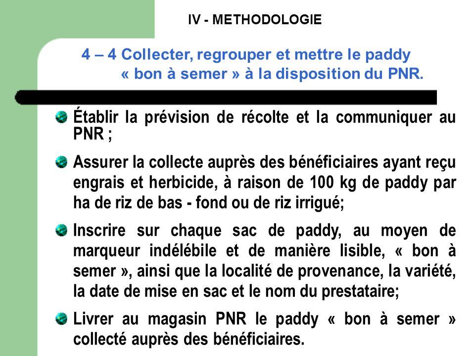 Établir la prévision de récolte et la communiquer au PNR ;