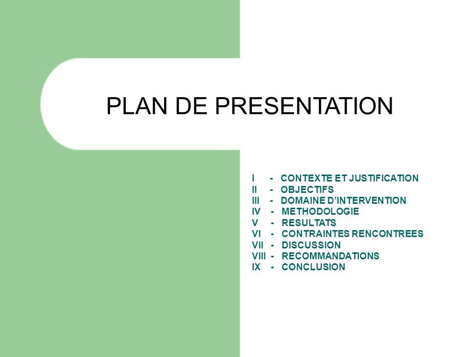 PLAN DE PRESENTATION I - CONTEXTE ET JUSTIFICATION II - OBJECTIFS