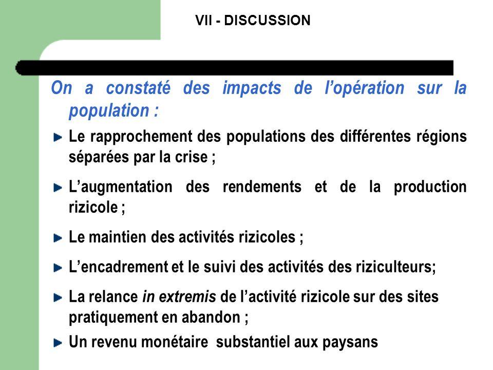 On a constaté des impacts de l'opération sur la population :