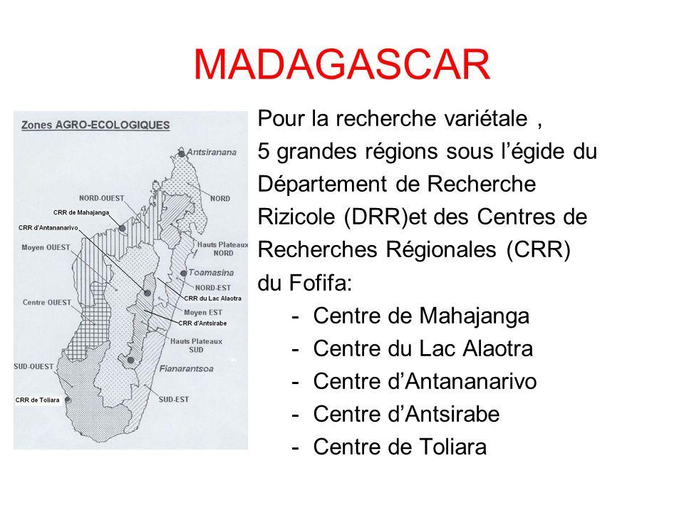 MADAGASCAR Pour la recherche variétale ,