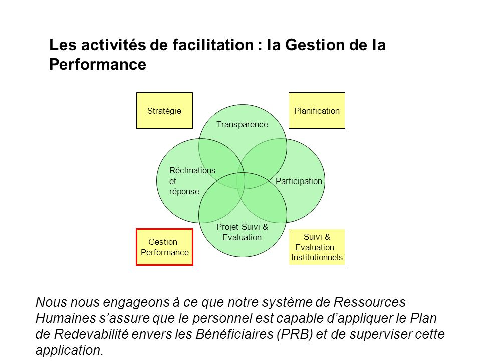 Les activités de facilitation : la Gestion de la Performance