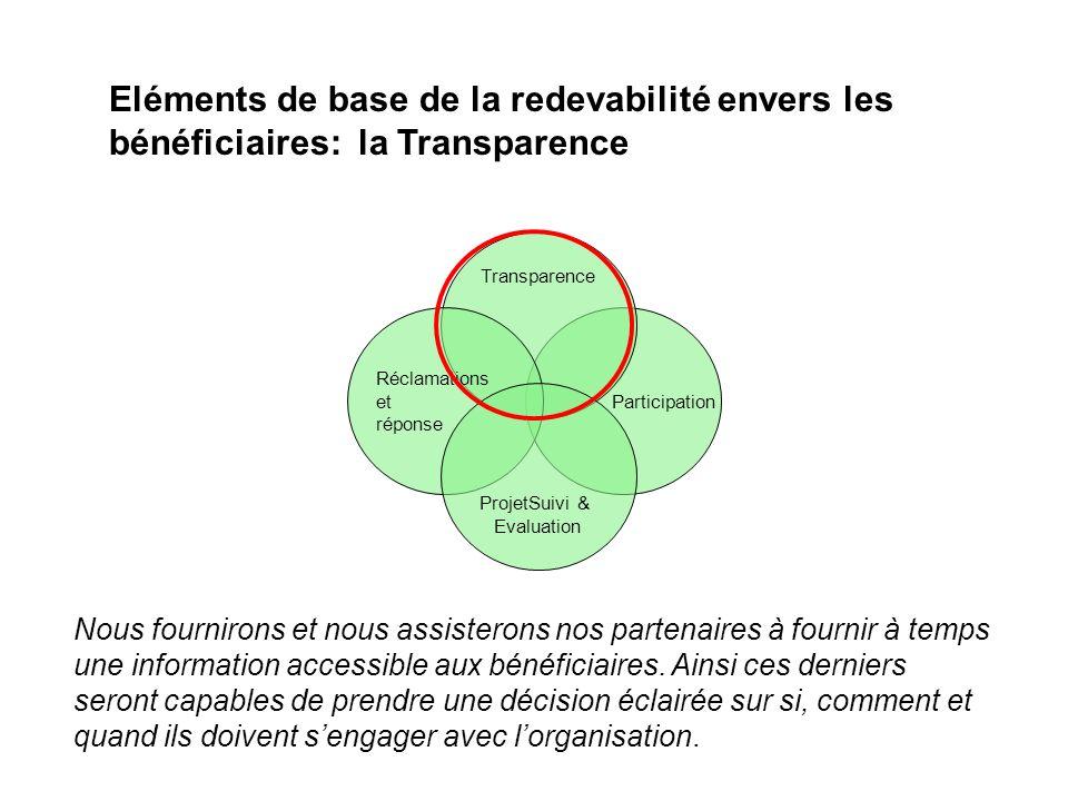 Eléments de base de la redevabilité envers les bénéficiaires: la Transparence