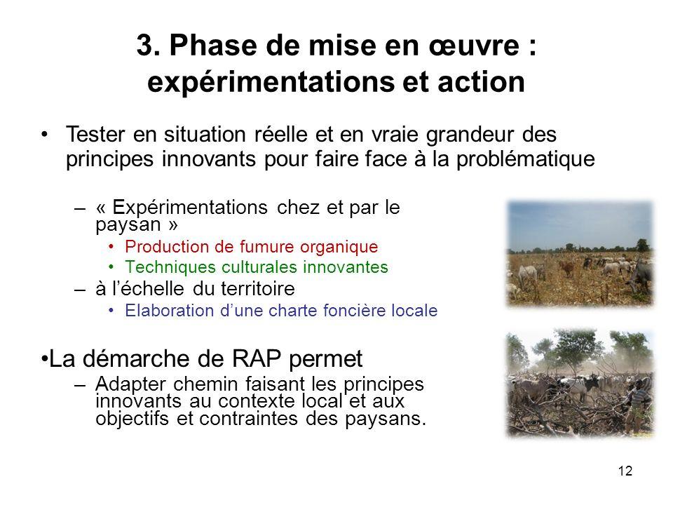 3. Phase de mise en œuvre : expérimentations et action