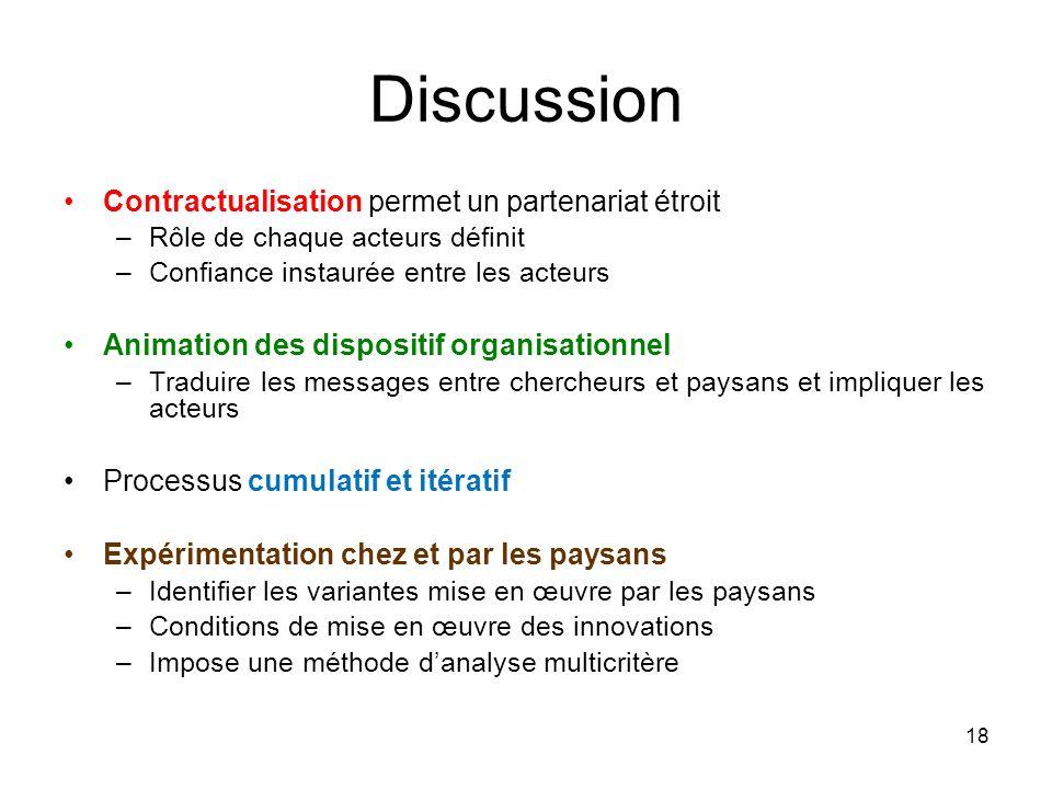 Discussion Contractualisation permet un partenariat étroit