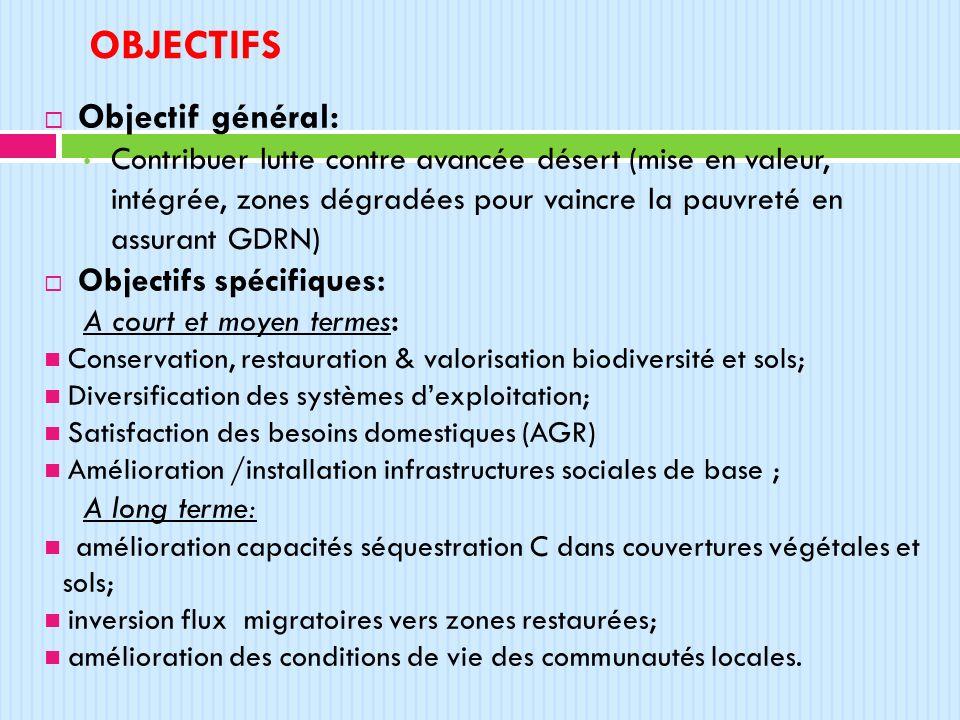 objectifs Objectif général: Objectifs spécifiques: